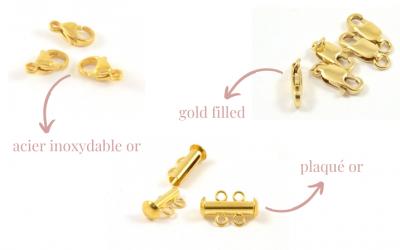 Différence entre le plaqué or, le gold filled et l'acier inoxydable or